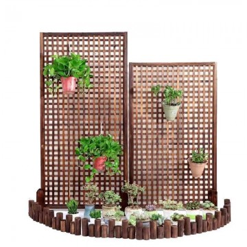 Outdoor wooden Square mesh grid plant rack