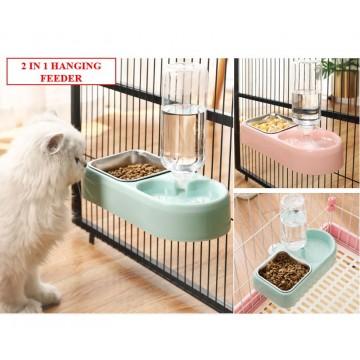 [CAGE FEEDER 2IN1] Food Drink Feeder Lock Hanging Pet Cat Kitten Cage