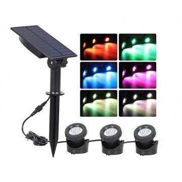 Underwater solar led  light projector (3 Head Lights Rainbow)
