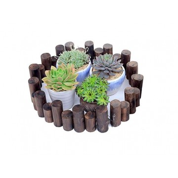 Wood Fence Flower Rack & Round fencing  (3 Size)