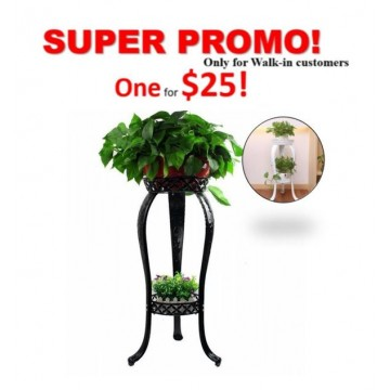 Metal 2 Tiers Plant Rack Indoor Floor Model Potted Plant Stand