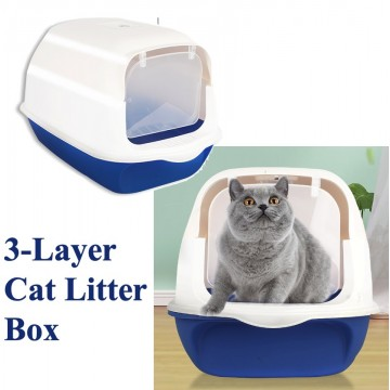 3 Layer Blue Litter Box  (WITH DOOR)