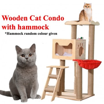 Wooden Cat Condo With Hammock