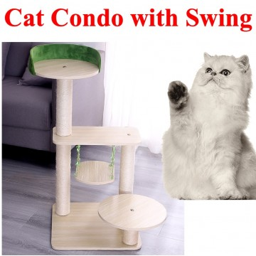 Wooden cat condo with swing