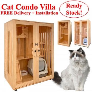 Wooden Cat Condo Villa ( FREE DELIVERY + INSTALLATION )