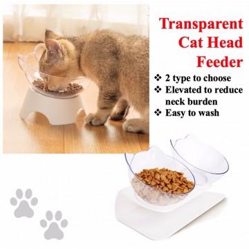 Elevated Transparent Cat Feeding Bowl Feeder ( Single / Double)  Transparent Double Bowl /  Transparent Single Bowl