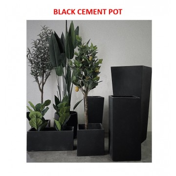 [READY STOCK] Black Pure Cement Planter Pot