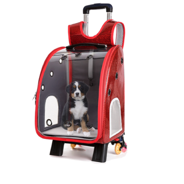 2 in 1 Pet Carrier with Pull Rod [Red]