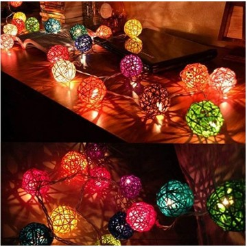 Solar String Rattan Light (  Rainbow & Warm Light)