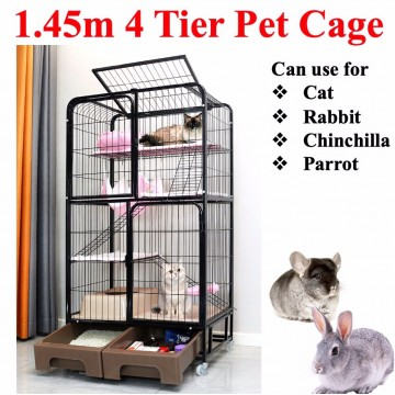1.45m 4 Tiers Pet Cage Cat Cage Rabbit Cage Chinchilla Cage parrot Cage