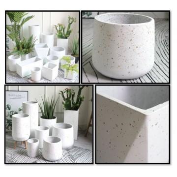Sparkle White Cement Planter Pot