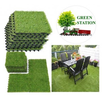 Artificial Grass Tile Interlocking Floor Tiles Grass Deck Mats Tile Fake Grass Turf