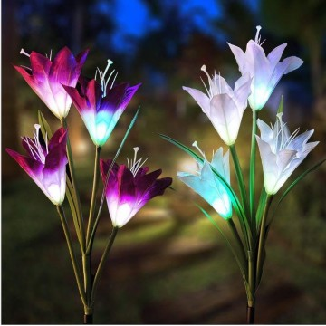 Solar Garden Stake Lights Outdoor,1Pack Solar Powered Lights with 4 Lily Flower ( 2 color)