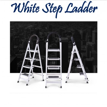 White Step Ladder ( 3 / 4 / 5 Steps)