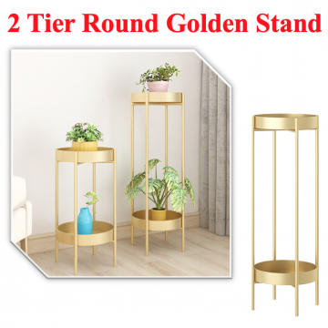 [2 TIER ROUND GOLDEN POT STAND] Flower Multi Layer Rack Gold Rack Planter Interiror