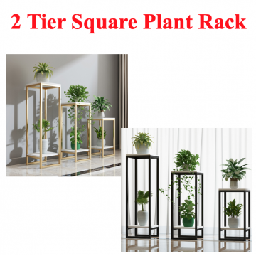 [2 TIER SQUARE PLANT RACK] White Gold Black Square Nice Premium Decor Home Decoration Nice Wood Metal