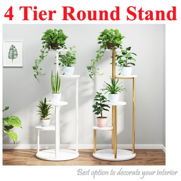 [4 TIER ROUND STAND] Plant Storage Interior Design Premium Nice Wood Gold Black White