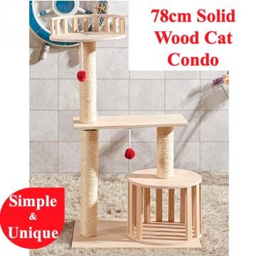 78cm Solid Wood Cat Condo