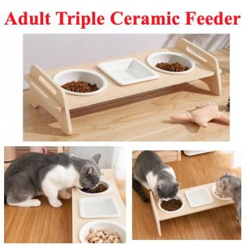 [ADULT TRIPLE CERAMIC BOWL] Feeder Food Drink Square Circle Cat Kitten Pet Natural