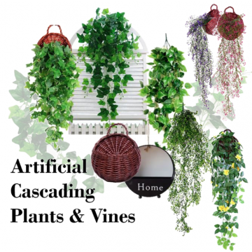 [ARTIFICIAL HANGING PLANT AND VINES][Type A to Type G] Leaves Cascading Drape flowers plants outdoor indoor balcony
