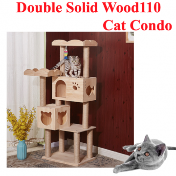 [DOUBLE SOLIDWOOD110 CAT CONDO] Cat House Scratching Tree Comfortable Natural Premium Wood