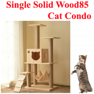 [SINGLE SOLIDWOOD85 CAT CONDO] Solid Wood Cat House Scratching Tree House Premium Natural