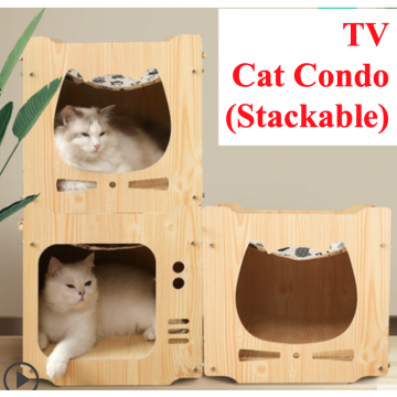[TV CAT CONDO] Plywood Stackable Cat House Cat Tree Nice Good Special Interior