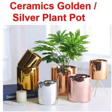 Ceramics Golden / Silver Plant Pot