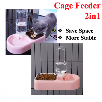 [CAGE FEEDER 2IN1] Food Drink Feeder Lock Hanging Pet Cat Kitten Cage