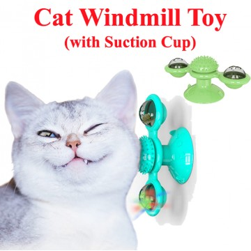 [WINDMILL TOY] Cat toy Kitten Wall Suction Ceiling Fun Food Bell