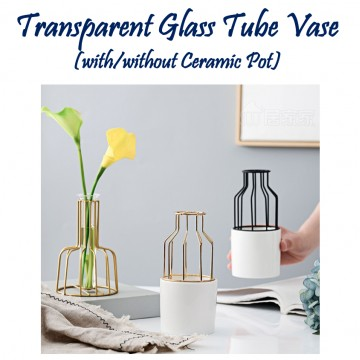 Transparent Glass Tube Vase(with or without Ceramic)