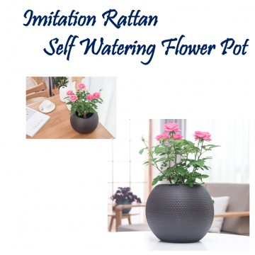 Imitation Rattan Self Watering Flower Pot