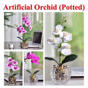 Artificial Orchid Potted Plant