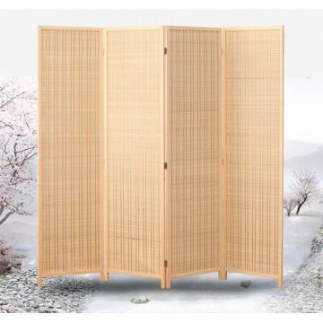Natural Color Wood and Bamboo Weave Room Divider Bamboo Divider