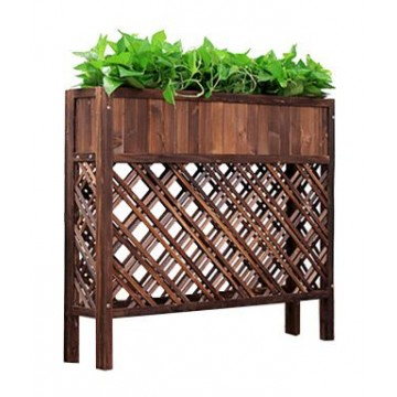 Wooden Floor-Standing Flower Pot Stand Grid Flower Boxes