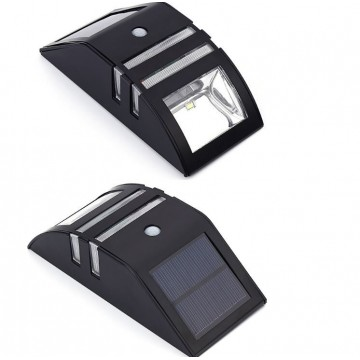 Contemporary outdoor solar wall light (warm light) stainless steel black