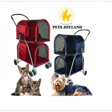 Double Foldable Pets Stroller for Cats/Dogs and other small animals