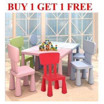 [ BUY 1 FREE 1 ] Plastic chair Kids/Children Playing/Study/Learning/Education/Dining Furniture Table Chair
