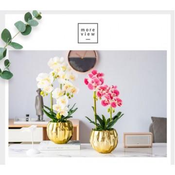 2 Stalks / 3 Stalks / 4 Stalks Artificial Phalaenopsis Orchid in Diamond Pot Artificial Flower Plant
