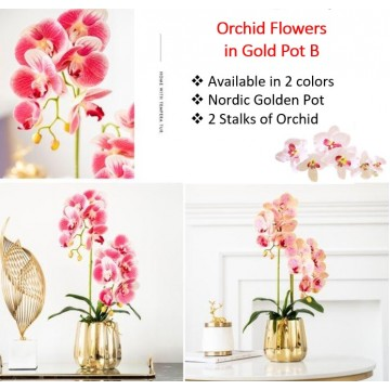 2 stalks Artificial Phalaenopsis Orchid in Pearl B Gold Pot Artificial Flower Plant