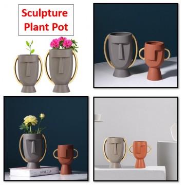 Portrait Sculpture Human Face Planter Plant Pot Vase Gardening Home Decor Decoration Table Pot Small Design