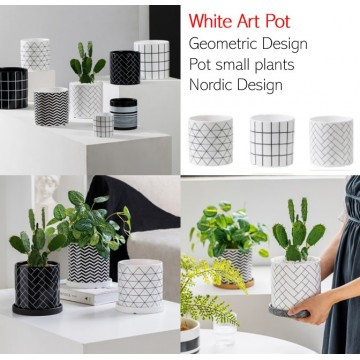 White Art Pot Ceramic Pot Planter Pot Flower Pot Small Plant Pot