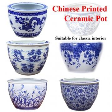 Chinese printed pot unique qing qianlong mark blue and white porcelain ceramic fish bowl flower pot