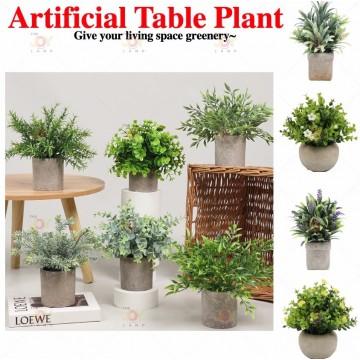 Mini Potted Fake Plants Artificial Plastic Eucalyptus Plants for Home Office Desk Room Decoration