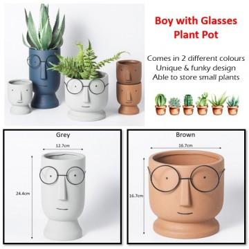 Boy with Glasses Plant Pot