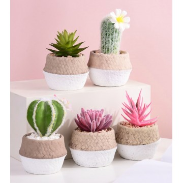 [SMALL ARTIFICIAL PLANT] Artificial Succulent Plant  Succulent with Rattan Design Pot Flower With Pot Indoor Outdoor Gardening table