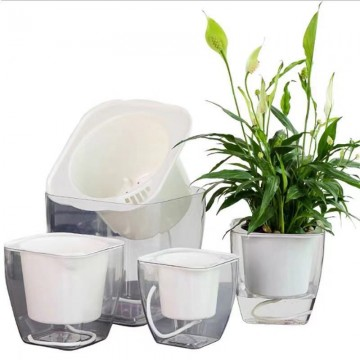 Double Deck Planter Transparent Indoor Garden Stylish Self-Watering Planter Foolproof Square Pots